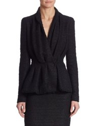 Carolina Herrera Tweed Peplum Jacket Black