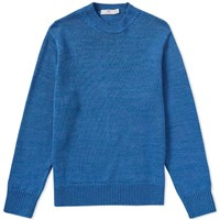 Inis Meain Solid Linen Crew Knit Blue