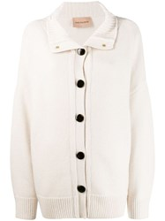 Yves Salomon High Neck Cardigan White