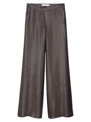 Mango Striped Palazzo Trousers Black