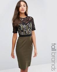 Paper Dolls Tall Pencil Dress With Lace Bodice And Sleeves Khaki Green