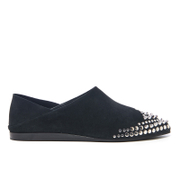 Mcq By Alexander Mcqueen Women's Liberty Fold Suede Pointed Flats Black