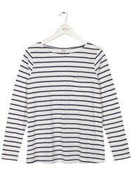 Fat Face Cassie Button Back Stripe Top Ivory
