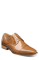 Stacy Adams Sanborn Perforated Cap Toe Derby Tan Leather
