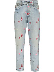 Miu Miu Floral Embroidered Tapered Jeans 60