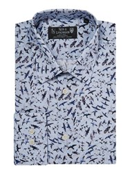 New And Lingwood Sycamore Bird Print Shirt Blue
