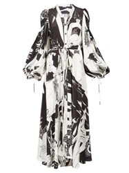 Loewe Aubrey Beardsley Print Crepe Shirtdress Black White