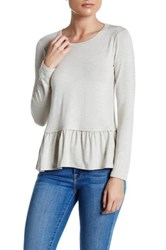 Loveappella Peplum Long Sleeve Tee Petite White