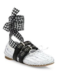 Miu Miu Double Strap Woven Leather Lace Up Ballet Flats Bianco