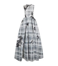 Jovani Floral Check Organza Gown Female White
