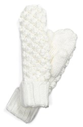 Women's Lole Popcorn Knit Fleece Lined Mittens White