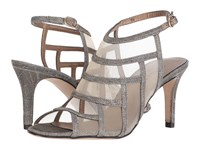 Vaneli Tuccy Platinum Nizza Fabric Beige Mesh Gold Buckle High Heels Silver
