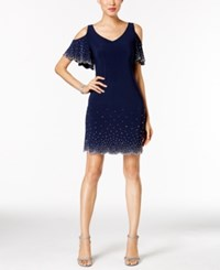 Msk Petite Cold Shoulder Rhinestone Dress Navy