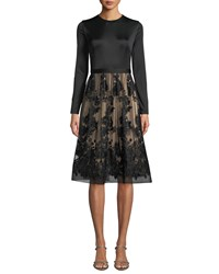 Catherine Deane Ling Long Sleeve Dress W Lace Skirt And Sequins Black