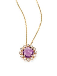 Suzanne Kalan Amethyst White Sapphire And 14K Yellow Gold Starburst Pendant Necklace Gold Purple