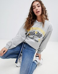 Daisy Street Relaxed Sweatshirt With Motor Cross Print Light Grey
