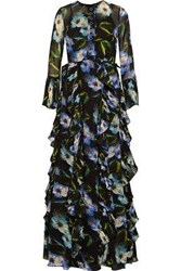 Mikael Aghal Ruffled Embellished Floral Print Chiffon Gown Black