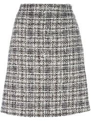 Lanvin Tweed Checked Skirt Black