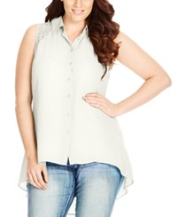 City Chic Trendy Plus Size Lace Back Blouse Ivory