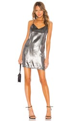 Kendall Kylie X Revolve Liquid Shine Mini Slip Dress In Metallic Silver. Black Silver