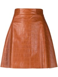 Drome Mock Crock Skater Skirt Brown