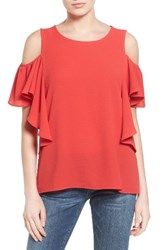 Bobeau Women's Cold Shoulder Ruffle Sleeve Top Red Saucy