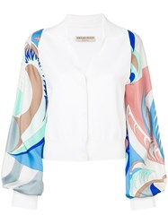 Emilio Pucci Printed Sleeve Blouse White
