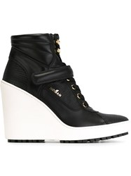 Hogan White Wedge Heel Boots Black