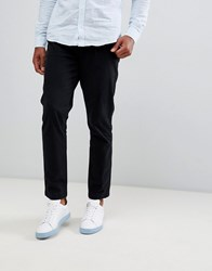 Selected Homme Tapered Fit Trousers In Organic Cotton Black