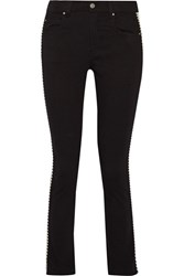 Etoile Isabel Marant Haven Striped Mid Rise Straight Leg Jeans Black