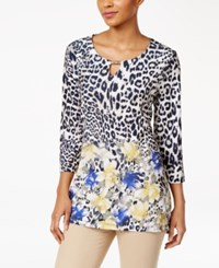 Jm Collection Cheetah Print Keyhole Tunic Only At Macy's Cat Corsage
