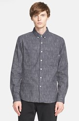 Men's Patrik Ervell Slubbed Basket Woven Cotton Sport Shirt