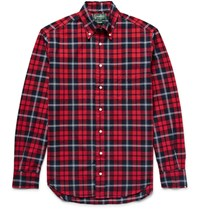 Gitman Brothers Vintage Button Down Collar Checked Cotton Oxford Shirt Red