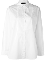 Cedric Charlier Pleated Detail Shirt White