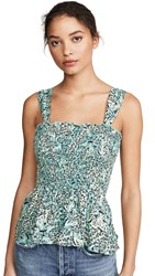 Kendall Kylie Smocking Tank Top Mint Teal