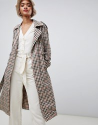 Stradivarius Check Belted Mac White