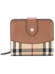 Burberry Horseferry Check Two Fold Wallet Women Calf Leather Polyester One Size Brown