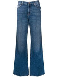 7 For All Mankind Faded Wide Leg Jeans Blue