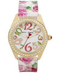 Betsey Johnson Women's Pink Floral Printed White Silicone Strap Watch 40Mm Bj00048 180 Gold