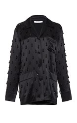 Givenchy Beaded Embroidered Silk Satin Top Black