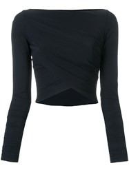 Lost And Found Ria Dunn Cropped Wrap Top Black