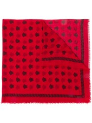 Versace Medusa Pattern Scarf Red