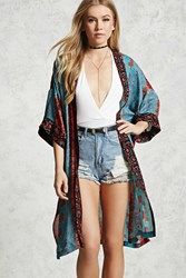 Forever 21 Floral Longline Kimono Coral Teal