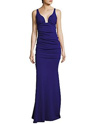 Nicole Miller Low Neck Crepe Evening Gown Red