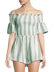 The Fifth Label Striped Off Shoulder Romper Sage White