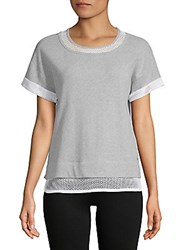 Andrew Marc New York 2Fer Short Sleeve Top Heather Grey