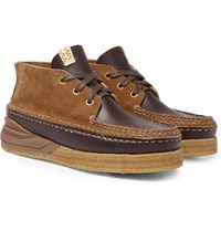 Visvim Canoe Moc Ii Cross Grain Leather And Suede Boots Brown