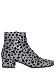 Saint Laurent 40Mm Babies Velvet Stars And Glitter Boots