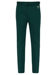 Prada Belted Stretch Twill Straight Leg Trousers Green