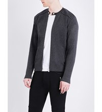 The Kooples Leather Trim Wool And Cotton Blend Cardigan Gry13